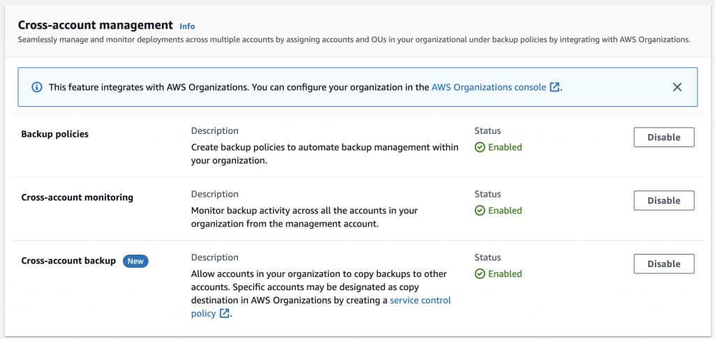 Organization setup for AWS Backup
